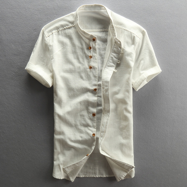 2016 col vintage manches chemises Mandarin en coton courtes hommes wqARwxC1