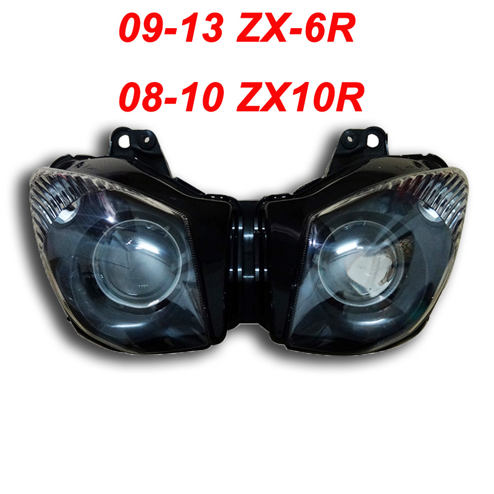 For Kawasaki 09-13 ZX6R 08-10 ZX10R ZX 6R 10R Motorcycle Front Headlight Head Light Lamp Headlamp CLEAR 2008 2009 2010 2011 2012 clear lens motorcycle plastic front light lamp case for kawasaki ninja zx6r 2000 2001 2002 headlight housing set
