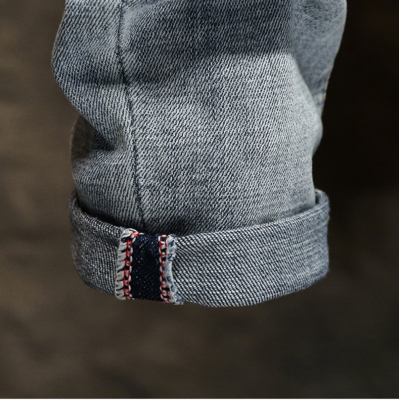 Ripped Jeans for Men Skinny Light Blue Gray Stretch Slim Leg Streetwear Distressed Moto Biker Jeans Male Denim Pants Hip Hop 17