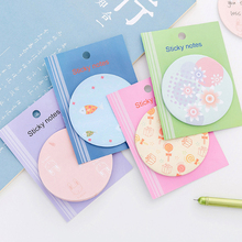лучшая цена 1pack /lot Kawaii Round Torn Memo Pad N Times Notes Memo Notepad Bookmark Gift Stationery