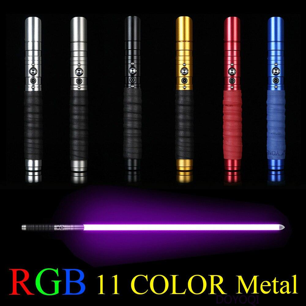 11 Color sable espada de Metal láser RGB Cosplay Gril juguete luminoso regalo de los niños al aire libre de la luz creativa de las guerras Juguetes saber