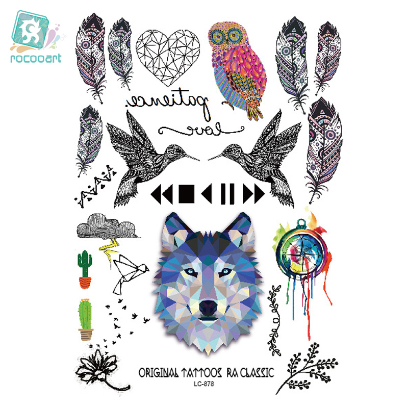 Rocooart 6080-208 Big Black tatuagem Taty Body Art Pegatinas de tatuaje temporal Gradiente Colorido Wolf Owl Birds Tatoo Sticker