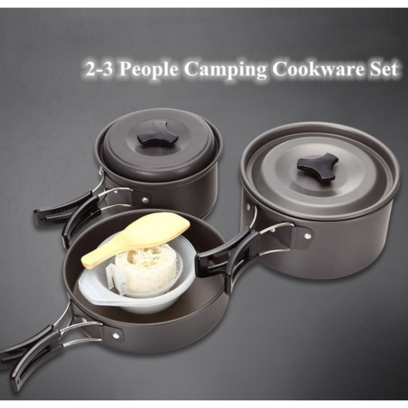 Hot Sale Outdoor Tableware 2 3 Person Hiking Camping Folding Handle Cookware Set Fry Pan Pot for Picnic Traveling Cooking
