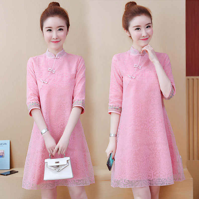 Half Sleeve Vintage Chinese Dress Large Size Cheongsam Dress Spring Summer New Loose Casual Women Midi Dress Pink Vestidos f446