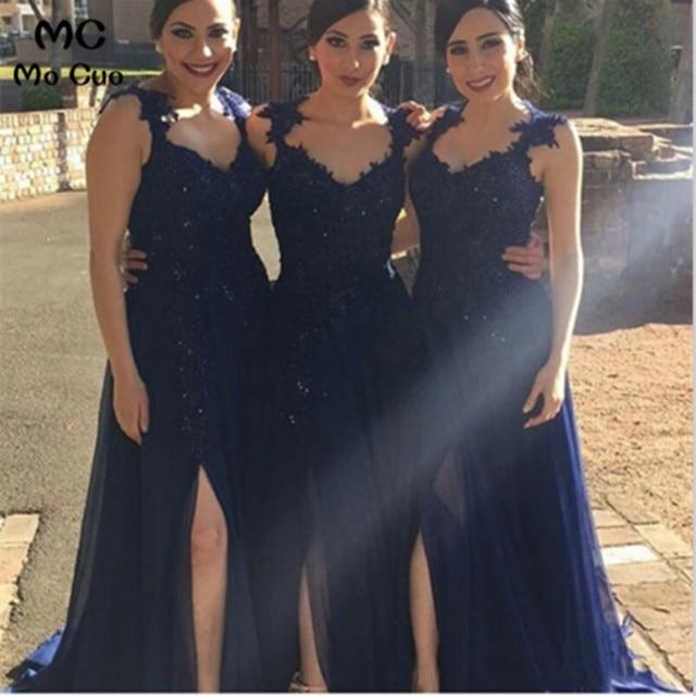 5b278616dc Azul Marino 2018 vestidos largos De dama De Honor con encaje lateral Spit Maid  of Honor