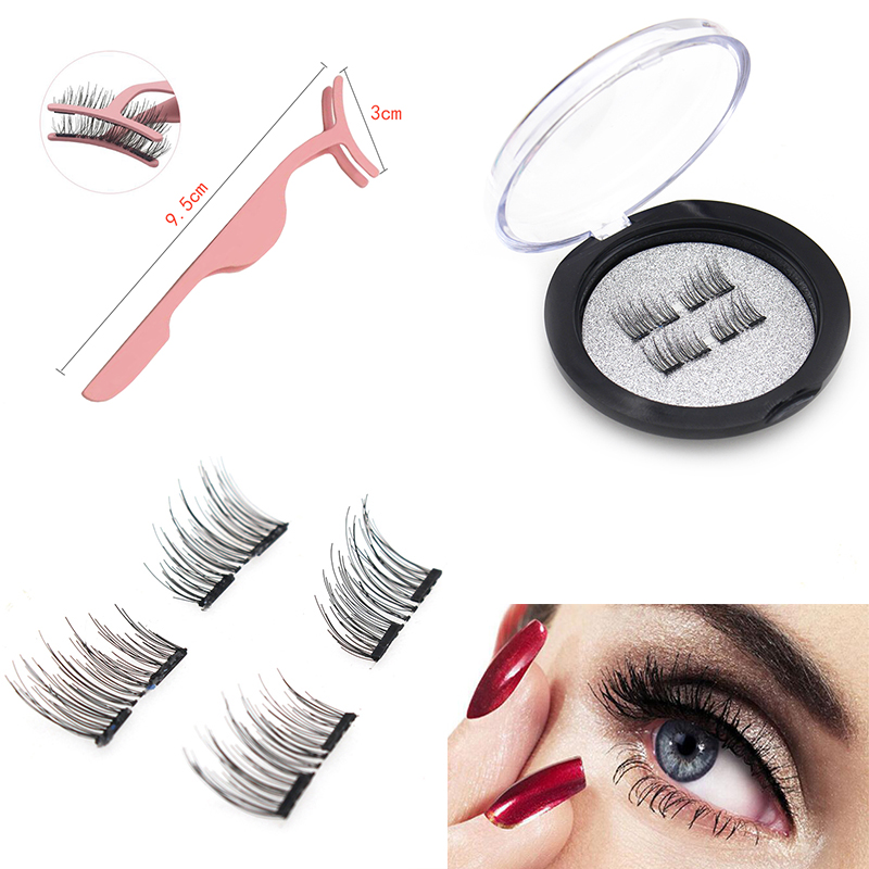 False <font><b>MAGNETIC</b></font> <font><b>Eyelashes</b></font>, Half Cover Dual <font><b>Magnets</b></font>, No Glue, Fake Lashes Extension, Natural Reusable Handmade(MA-01) image