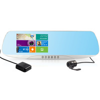 Car Rearview Mirror 5 GPS Navigation Dual lens DVR Camera Motion Detection Android 4.0 Full HD 1080P With Map