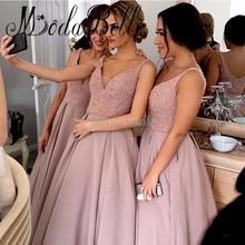 2017 Satin Dusty Pink Long Bridesmaid Dresses V Neck Beaded Glitter Prom Dress Dubai Vestido Dama De Honra Adulto Party Kleider