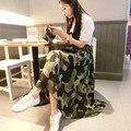 2015 лето камуфляж бюст шифоновая юбка мода полные юбки элегантный расширение юбка женская юбка
