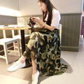 2015 camuflaje verano busto falda de gasa de moda faldas elegante falda de la extensión de la falda