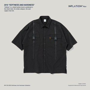 Image 5 - INFLATION Brand Shirt Stripe Short Sleeve Casual Shirt Oversized High Quality Male Shirts Streetwear 2020 Men Clothes 9235S