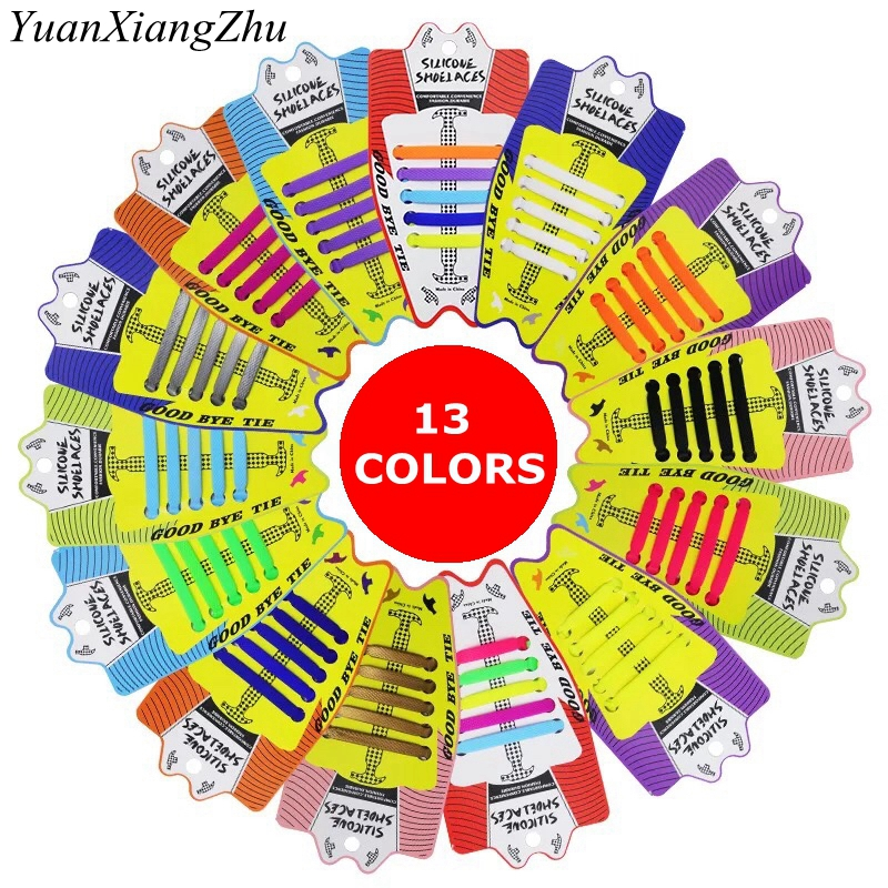 10pcs/lot New Children Elastic Silicone Shoelaces No Tie Shoe Laces Children's Lacing Silica Gel Shoelace Convenient Lazy Laces