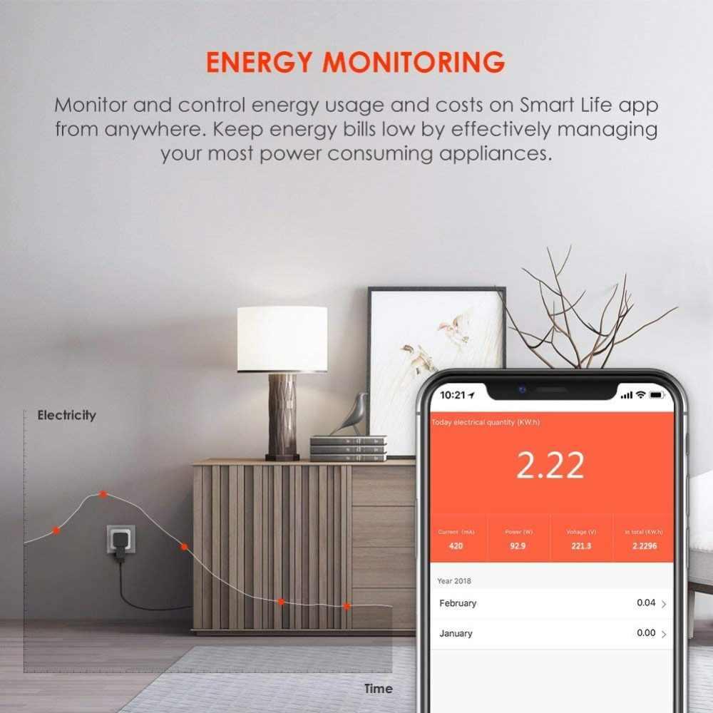 Inteligentny UK wtyczka sterowanie przez wifi wyłącznik czasowy gniazdo z przełącznikiem 16A moc monitorowanie zużycia energii sterowanie głosem pracy z Alexa i Google IFTTT