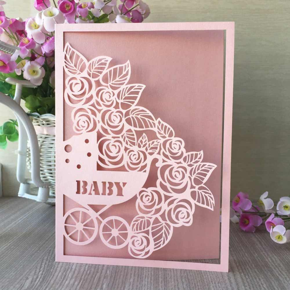 20pcs New Laser Cut Pearl Paper Blessing Card Baby Shower