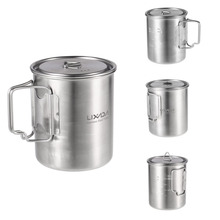 Lixada 750ml Stainless Steel Pot Portable Water Mug Cup Coffee Milk Mug Outdoor Camping Cookware with Lid and Foldable Handle tiartisan pure titanium coffee mug 500ml titanium milk cup cookware pot bowl with fixed handle ta8351ti