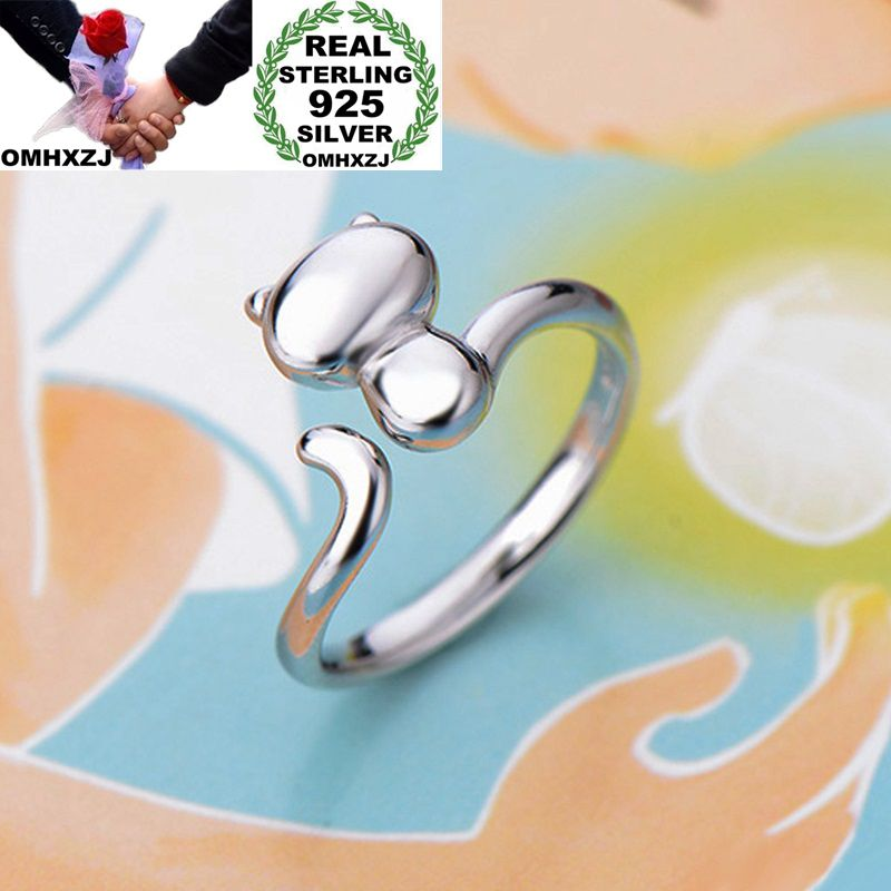 OMHXZJ Wholesale Personality Fashion OL Woman Girl Party Wedding Gift White Cute Cat Open 925 Sterling Silver Ring RN260