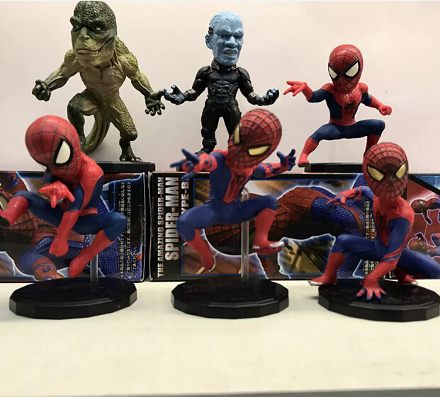 NEW hot 10cm 6pcs/set avengers spider-man Electro Lizard action figure toys collection Christmas gift doll with box пластилин spider man 10 цветов