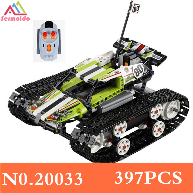Hot 20033 397Pcs Technic Series The RC Track Remote-control Race Car Set Building Blocks Bricks Lovely Gifts Toys 42065 B213 glow race track bend flex glow in the dark assembly toy 112 160 256 300pcs slot race track 1pc led car puzzle educational toys