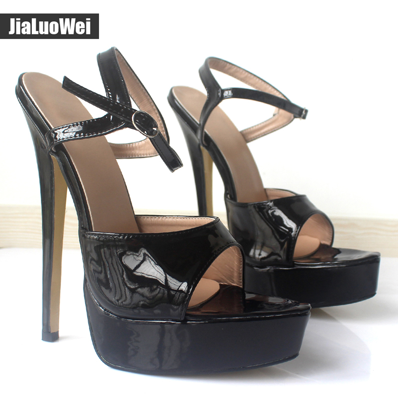 jialuowei Ultra High 18CM Thin Heel Sandals women Platform Shoes Open Toe Ankle Strap Fashion sexy Fetish ladies Sandals  jialuowei 6 extreme high heel fashion pump sexy foot fetish toe platform pumps high heels shoes adult women large sizes