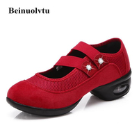 Hot Red Dance shoes women Soft bottom Jazz shoes Air Cushion dance sneakers girls 35-41 female shoes dancing