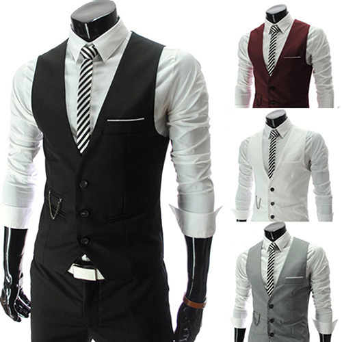 Men's Formal Business Slim Fit V-neck Solid Single-Breasted Vest Suit Waistcoat New Arrival