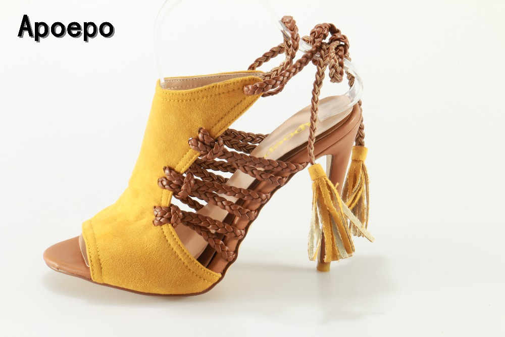 Apoepo Hot selling leather cutouts high heel sandal sexy pee toe lace-up gladiator sandal for woman 2017 thin heels shoes 2017 summer newest wedge sandal for woman peep toe denim blue lace up platform sandal sexy embroidery gladiator sandal