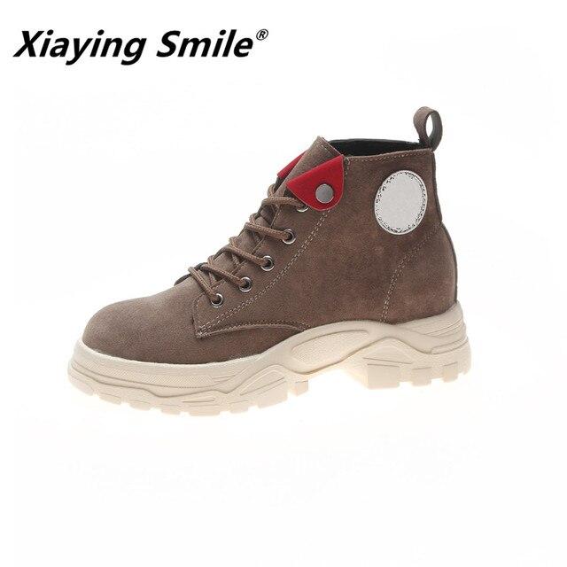 Xiaying Smile/женские ботильоны; Новинка; Модная стильная повседневная обувь; женские нескользящие ботильоны в Корейском стиле; Теплые ботильоны