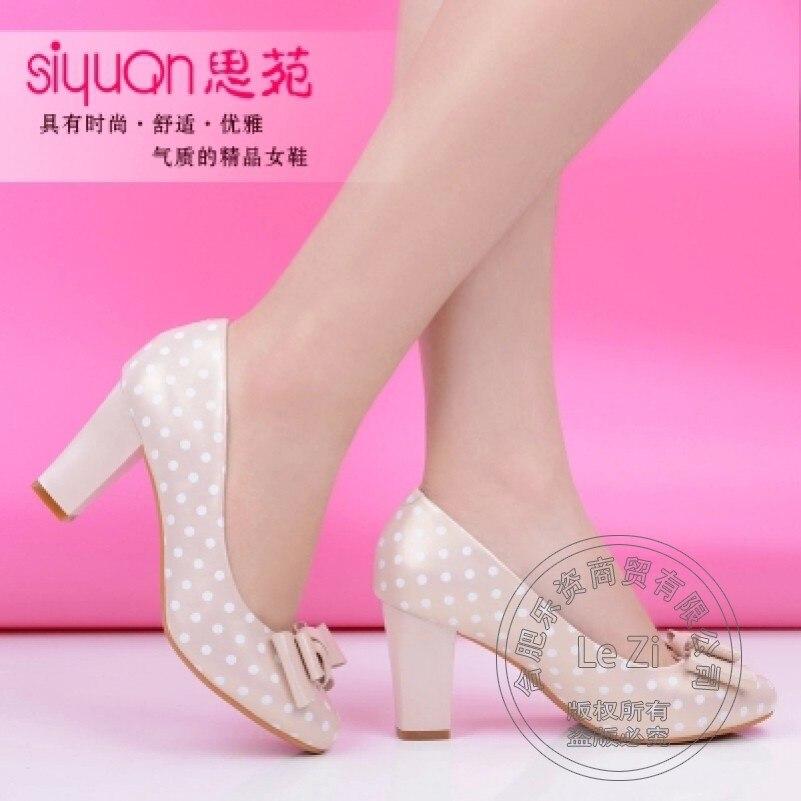 Safety Nice Sweet font b Women b font Heels Shoes Luxury Brand 2015 Polka Dot Bowknot