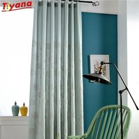Modern Solid Color Cotton Linen Blackout Curtains For Living Room Window Custom Made Embroidered plants New Coming Hot Su180 *30