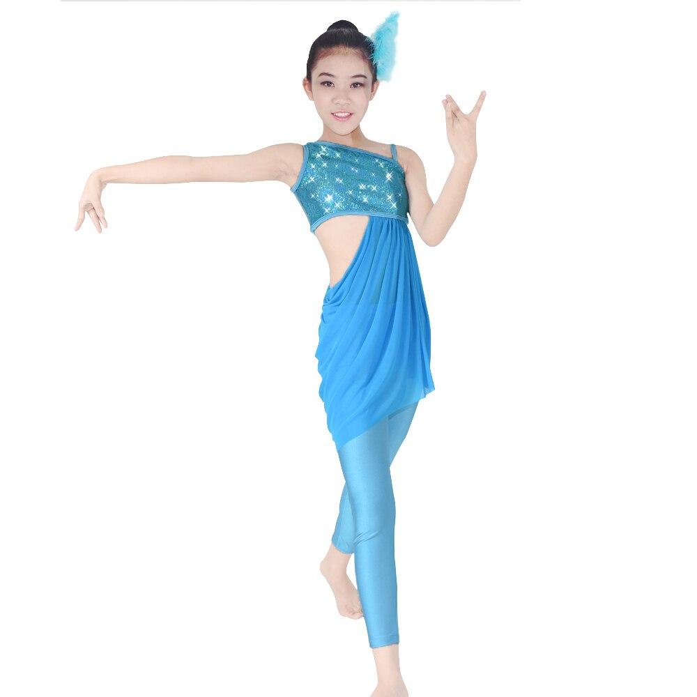 Girls Ballet Jazz Dance Dresses Modern Sequins Leotard Tight Pants Performance Costumes Юбка