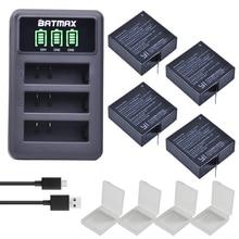 4x 1400mAh Battery For Original Xiaomi Yi II Xiami yi 4k  Yi Lite Batteries+ LED USB 3slots Charger for Xiaoyi Action Camera