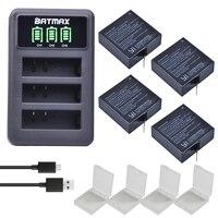 4x 1400mAh Battery For Original Xiaomi Yi II Xiami Yi 4k Yi Lite Batteries LED USB