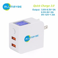 Allmaybe LCD Display 36W Quick Charge 3 0 USB EU2 Dual Port Wall Charger With Foldable