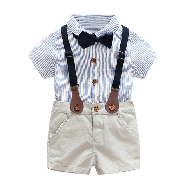 dc99e6b7 Summer Toddler Baby Boys Clothing Sets Short Sleeve Bow Tie Shirt+Suspenders  Shorts Pants Formal Gentleman Suits infant clothing