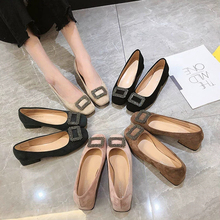 цены на Square Head Shallow Mouth Single Shoes Female 2019 Spring New Square Buckle With a Pedal Ladies Shoes Thick Casual Shoes  в интернет-магазинах