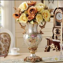 European retro pastoral living room flower arrangement landing large vase artificial set