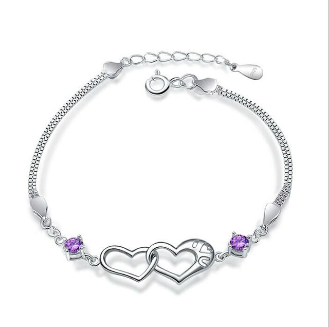 Jansun Coração Pulseira de Prata 100% Real 925 Sterling Silver Bracelet YH4201