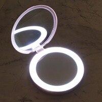1Set Draagbare Make Up Spiegel 3000mAh Draagbare LED Licht Cosmetische Spiegel Lamp Power Bank USB Oplaadbare 3X Vergrootglas-in Make-upspiegels van Schoonheid op