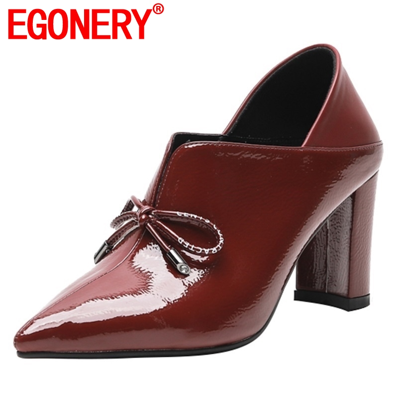 EGONERY 2019 spring new fashion sexy women shoes pointed toe patent leather women pumps outside high