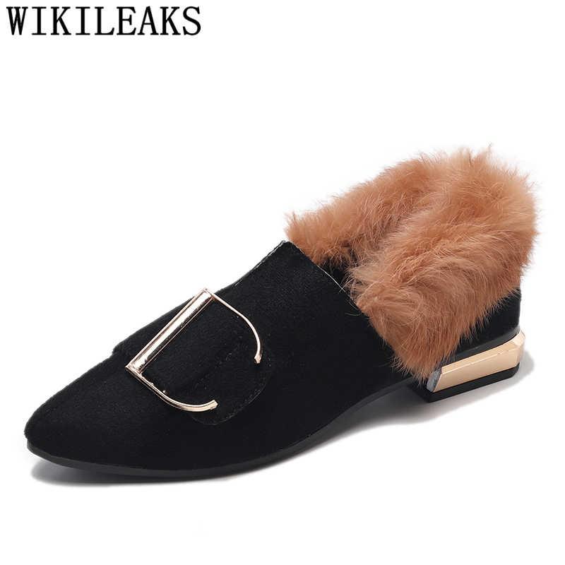 9abd9e6a1b2 ... 2018 new designer women shoes luxury brand flat shoes women fur slip on  loafers zapatillas mujer ...