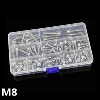 28 pcs M8 Parafuso 304 Parafuso do Hexágono do Aço Inoxidável Parafuso com Arruela Plana Pad Pad Kit de Uma Caixa
