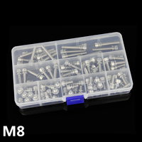 28pcs M8 Screw 304 Stainless Steel Hexagon Screw Bolt with Washer Spring Pad Flat Pad Kit One Box