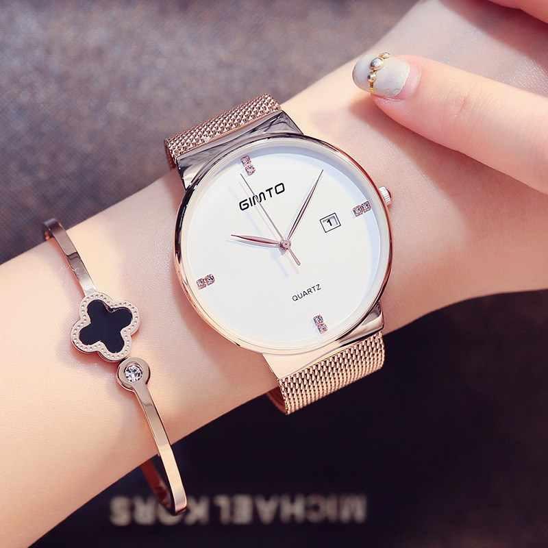 ... Роскошные gimto Модные женские Часы розовое золото Для женщин Часы  элегантный минимализм со стразами Повседневное черные ... 63d6a822899