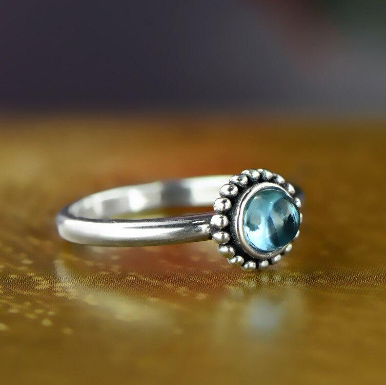 Mode bohème Vintage bagues en topaze pour les femmes filles Antique réel argent améthyste grenat anneau fait main bijoux fins
