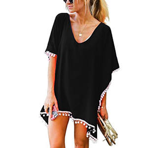 a3442f779d22 Beach Loose Bikini Cover Up Sexy Swim Suit biquini Women's Pom Trim Kaftan  Chiffon