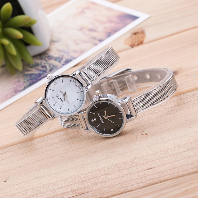 Fashion Women Ladies Silver Stainless Steel Mesh Band Wrist Watch Crystal Stainl