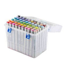 80 Slot Plastic Carrying Marker Case Holder Storage Organizer Box for Paint Sketch Markers-Fits for Markers Pen from 15mm to 18m 1pcs 80 slots multi layer art markers pens carrying storage case holders portable bag organizer holder black 31x12x16cm