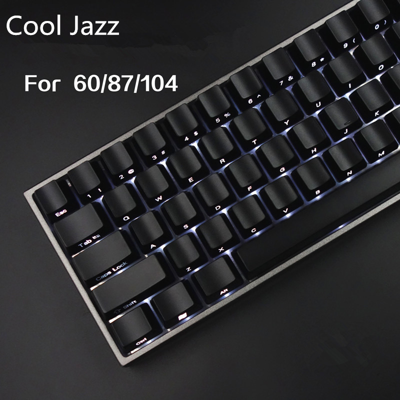 Cool Jazz Front/Side Printed Backlit Keycaps Black 104/87 Cherry MX Keycaps For Tenkeyless 87/104/108 Mechanical Gaming Keyboard