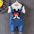 New 2016 Children's Sets Minnie mous Kids Clothes T-Shirt Long Sleeve Pullover+Denim overalls Suit Casual Girls Clothing Set
