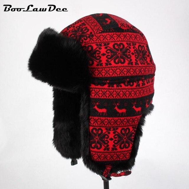 BooLawDee Красивый красный цветочный зима bomber шляпы женщины женский досуг снег тепловой носить аксессуары 56 см 58 см 60 см 4A409